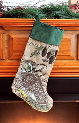 Owl Burlap and Velvet Christmas Stocking, Green