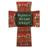 Rejoice In the Lord Always, Wood Cross Magnet