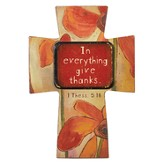 In Everything Give Thanks, Wood Cross Magnet