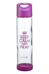 Keep Calm and Pray Glass Water bottle