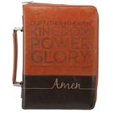 Lord's Prayer Bible Cover, Brown, Medium