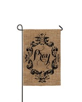 Pray, Burlap Flag, Small