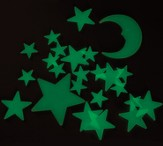 Glow Moon & Stars Set, pack of 24 pieces
