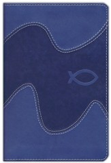 NIrV Backpack Bible, Italian Duo-Tone, ocean blue with ichthus - Imperfectly Imprinted Bibles