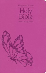 KJV Kids Study Bible, Soft Leather-Look, Pink with Butterfly Design - Slightly Imperfect