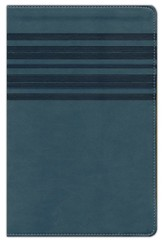 NIrV Large-Print Bible--soft leather-look, slate blue with stripes
