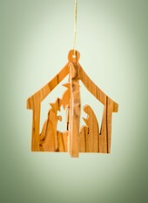 3D Olivewood Nativity Ornament