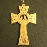 Olivewood Cross with Nativity Ornament
