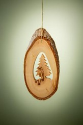 Olive Wood Christmas Tree on Back Slice Ornament