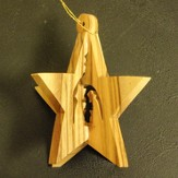 3D Olivewood Star Ornament