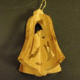 3D Olivewood Bell Ornament