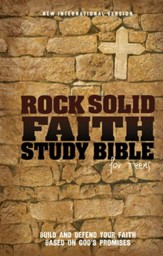 Rock Solid Faith Study Bible for Teens, NIV: Build and Defend Your Faith Based on God's Promises, Hardcover - Slightly Imperfect