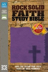 NIV Rock Solid Faith Study Bible for Teens, Italian Duo-Tone Violet - Slightly Imperfect