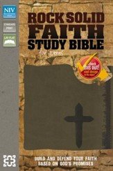 Rock Solid Faith Study Bible for Teens, NIV: Build and defend your faith based on God's promises, Italian Duo-Tone, Brown - Imperfectly Imprinted Bibles