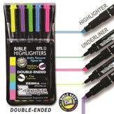 Zebrite Highlighters, Set of 5, Yellow, Purple, Green, Blue, Pink