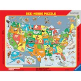 USA States & Capitals See Inside Frame Puzzle, 63 Piece