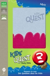 NIrV Kids' Quest Study Bible: Real Questions, Real Answers, Italian Duo-Tone, Light Blue/Hot Pink - Slightly Imperfect