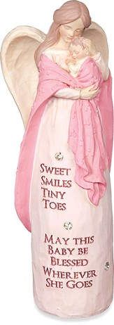 Blessed New Baby Angel Figurine, Pink