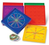 Double-Sided Rainbow Geoboards, Set of 6