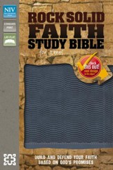 Rock Solid Faith Study Bible for Teens, NIV: Build and defend your faith based on God's promises, Italian Duo-Tone, Slate Blue - Imperfectly Imprinted Bibles