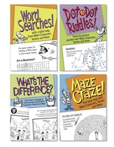 Bible Puzzles, Set of 4 - Maze Craze, What's the Difference, Dot to Dot Riddles, Word Searches