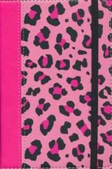 NIV Animal-Print Collection Bible, Italian Duo-Tone, Elastic Closure, Leopard/Pink - Imperfectly Imprinted Bibles