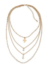 Cross & Pearl Multi Row Necklace, Gold Finish