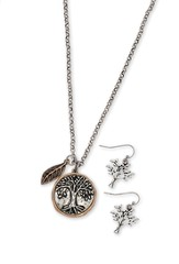 Tree Of Life Coin Style Necklace And Earring Set, Silver Finish