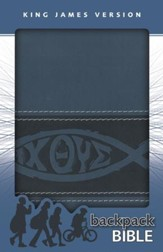 KJV Backpack Bible, Italian Duo-Tone, Slate Blue - Imperfectly Imprinted Bibles