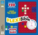 Flexi Bible, NIV, Flexcover, Silicone, Red Stars - Slightly Imperfect