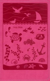 NIrV Study Bible for Kids--soft leather-look, pink with underwater design