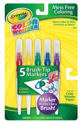 Color Wonder Brush Tip Markers, Classic Coloers, Set of 5