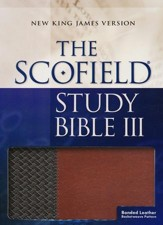 NKJV, Scofield Study Bible III, Basketweave bonded leather, brown/tan, thumb-indexed