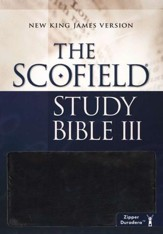 NKJV Scofield Study Bible III, Zipper Closure Duradera Imitatino leather, black