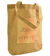 Strength, Pink Ribbon Tote Bag