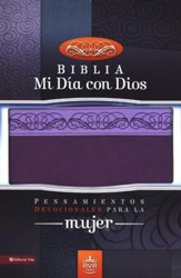 Biblia Mi Dia con Dios RVR 1960, Piel Italiana Dos Tonos Lila  (RVR 1960 My Day w/God Bible, Italian Duo-Tone Leather Lila)