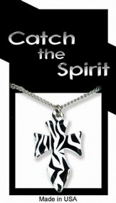 Cross Zebra Print Necklace