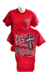 Rejoice in the Lord Always, Cherished Girl Style Shirt, Red, Extra Large