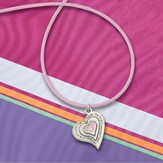 Heart with Cross on Pink Rubber Cord