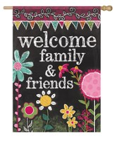 Welcome Family and Friends, Chalkboard Flag, Large