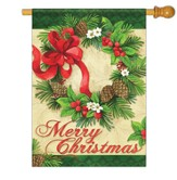 Merry Christmas, Wreath Flag, Large