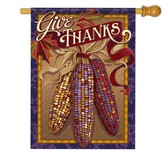 Give Thanks, Indian Corn, Flag, Large
