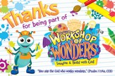 2014 VBS Workshop of Wonders: Imagine a Build with God - Thank You Postcard (package of 25)