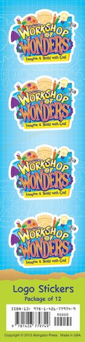2014 VBS Workshop of Wonders: Imagine a Build with God - Logo Stickers (package of 12)