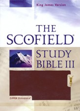 The Scofield Study Bible III, KJV, Burgundy Duradera (Imitation Leather) with Zipper