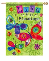 Life Is Full Of Blessings, Butterfly Blessings Flag, Large