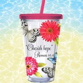 Butterfly Insulated Cup with Straw, Romans 14:4, 12:12