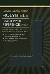 NKJV Personal Size Giant Print Reference Bible, Black  Genuine Leather