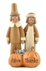 Pilgrim Couple with Pumpkins Figurine, Give Thanks to the Lord