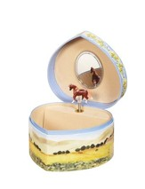 Love of Horses Heart Shaped Musical Jewelry Box